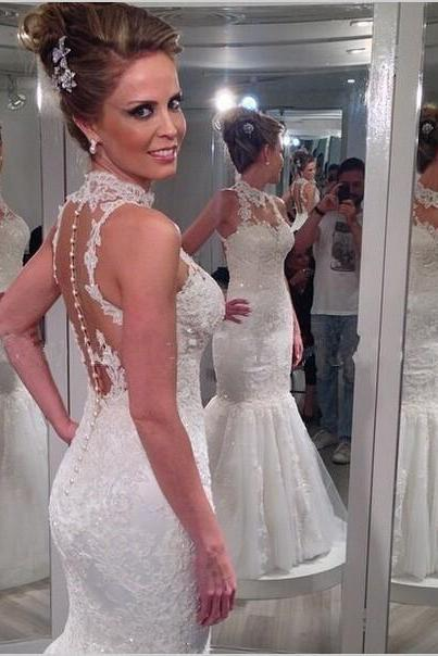 2016 High Neck Mermaid Wedding Dresses Sheer Back Button Sweep Train Lace with Applique Sequins Bridal Gowns