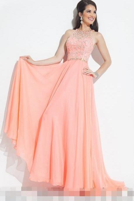 2016 Custom Fashion Long Pink Chiffon Prom Dresses Sheer Hot Sale A Line Sleeveless Formal Evening Party Dresses
