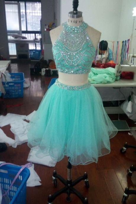 2016 Lovely Short Two Piece Homecoming Dresses Beaded Halter Tulle Party Cocktail Dress For Girls