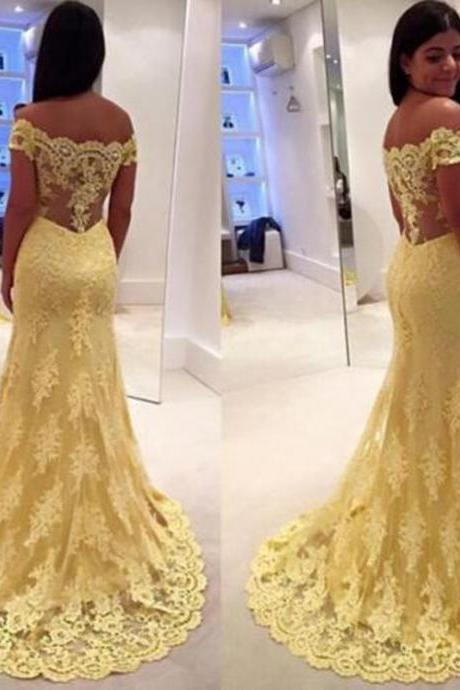 Yellow Lace Evening Dresses 2015 A Line Long Prom Gowns Sweep Train 2016 Party Gowns