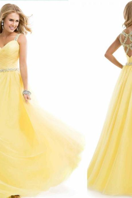 Yellow Chiffon Long Evening Dress 2016 New Arrival Formal Dresses Sweetheart Sleeveless Backless Prom Dresses