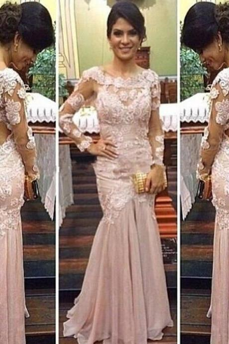 Fashion Boat Neck Lace Long Sleeves Prom Dress Chiffon Sweep Train Sexy Mermaid Open Back Party Gowns 2016