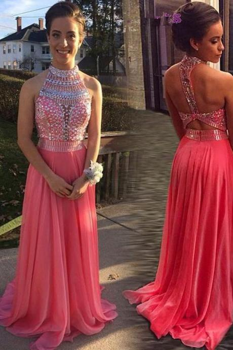 Fashion High Neck A Line Prom Dresses 2016 New Beads Crystal Backless Sweep Train Long Chiffon Party Evening Dresses