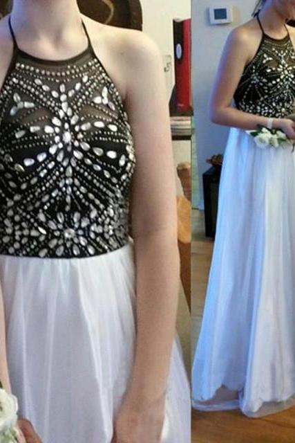 Elegant Halter A Line Prom Dresses 2016 New Arrival Crystal Backless Floor Length Prom Gowns