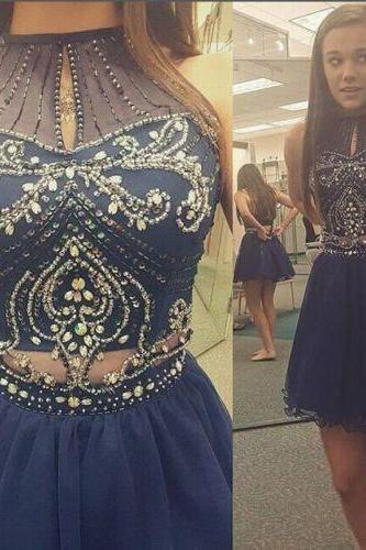 2016 Lovely Short Navy Blue Tulle Homecoming Dresses Beaded Party Cocktail Dress For Girls