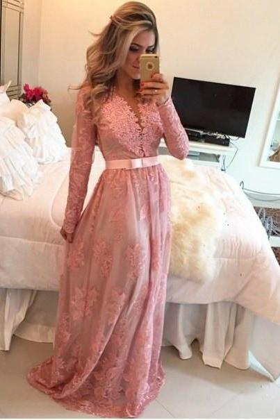 Fashion Long Sleeve A Line Prom Dresses 2016 New Appliques Sheer Back Button Prom Party Gowns