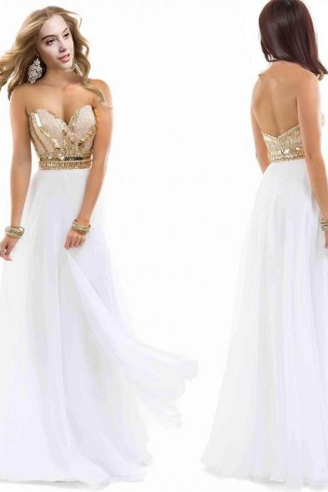 Luxury Beads Hot Sales Prom Dresses 2016 Sleeveless Backless Gold Sequins Party Dresses Evening Gowns