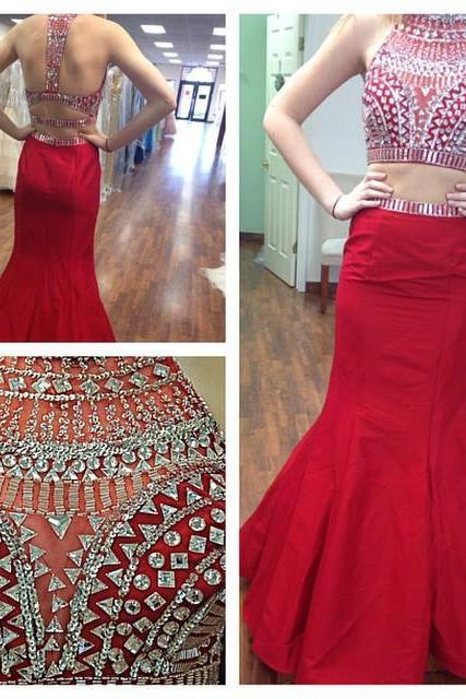 Fashion 2016 New Two Piece Prom Dresses Beads Crystal Long Red Satin Formal Evening Party Gowns