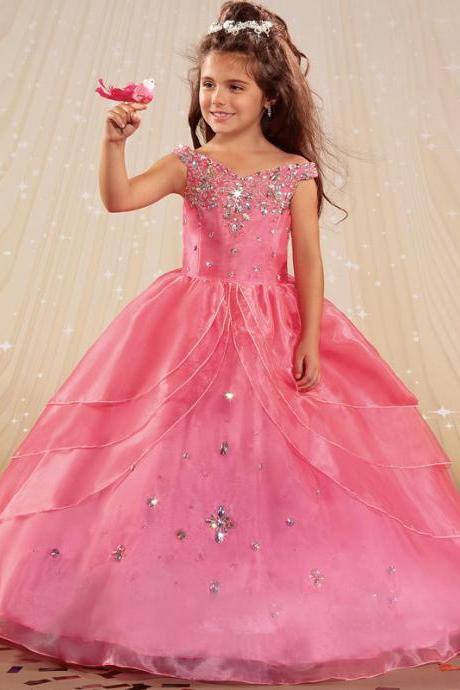 Beautiful Cheap Ball gown Flower girl Dresses Off the shoulder Beading High quality Organza Crystals Little girls pageant dress