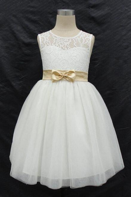 2016 Latest Flower Girl Dresses with Bow Keyhole Back Wedding Party Communion Pageant Dress for Little Girls Kids/Children Dress