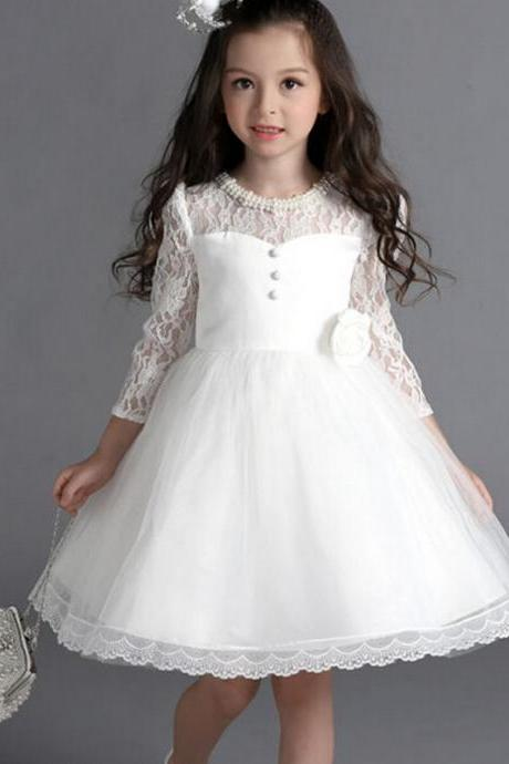 2016 New Flower Girl Dresses with Bow Sleeve Wedding Party Communion Princess Pageant Dress for Little Girls Kids/Children Dress