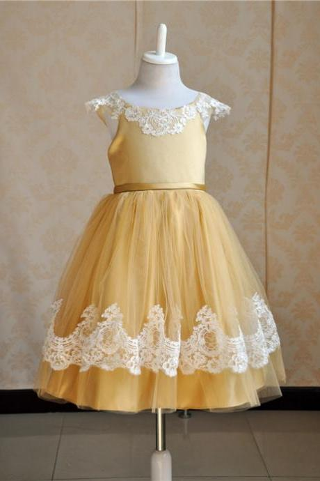 elegant formal a-line cap sleeve ankle length lace girls frocks at party children party frock for kids easter holiday dresses