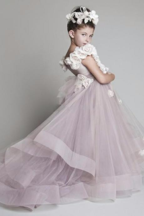 2016 New Flower Girl Dresses for Weddings Ball Gown Organza Appliques Sleeveless Scoop Floor-Length Girls Pageant Dresses