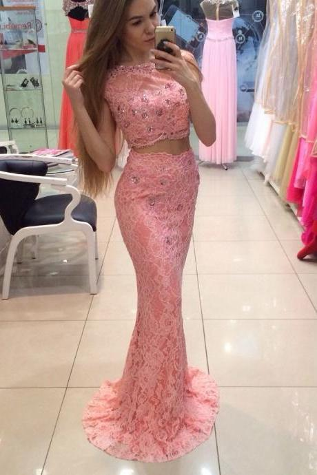 robe de soiree Fashionable Two Piece Long Prom Dresses 2016 All Over Lace Cap Sleeves Mermaid Evening Gowns Sexy Party Dress