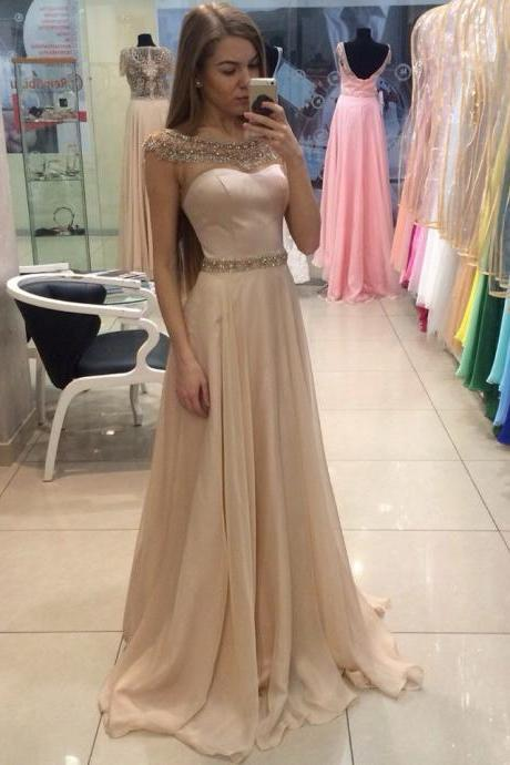 Champagne Long Prom Dresses 2016 With Beading A-Line Chiffon Floor Length Vestidos De Festa Vestido Longo Formatura Party Gowns