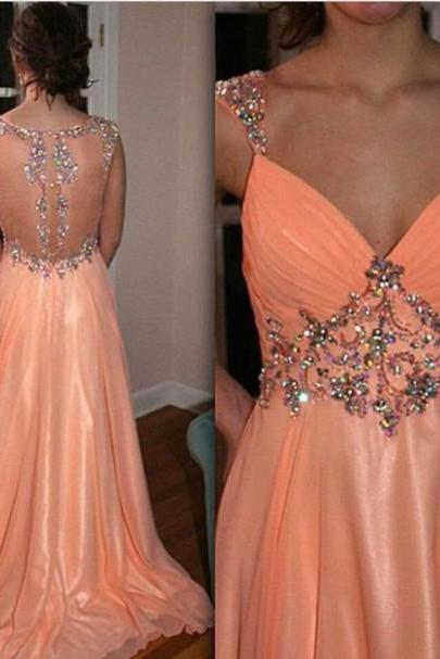 High Quality Prom Dress,A-Line Prom Dress,V-Neck Prom Dress,Chiffon Prom Dress,Long Beading Prom Dress