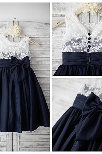 2016 cute girl with dark blue Kids Beautiful Ball Gown Flower Girls Dresses for Party and Weddings 2016 Girls Formal Gowns Bow