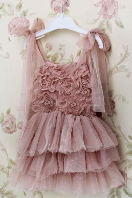 Pink Flower Girls Dresses, New Arrival Girls Party Dress, Tulle Girls Communion Dresses, Little Girls Wedding Party Dress, Custom Make Girls Pageant Dress, Ball Gown Flower Girls Dress, Crystal Little Flower Girls Dress