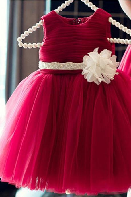 Fashion red dress skirt children princess dress flower girl dress children's clothing for girls costumes wedding dress veil Spring