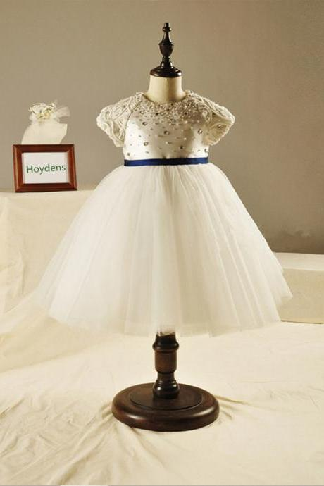 2016 The New High-end Custom White Lace Princess Dress Children Dress Flower Girl Dress TuTu Birthday