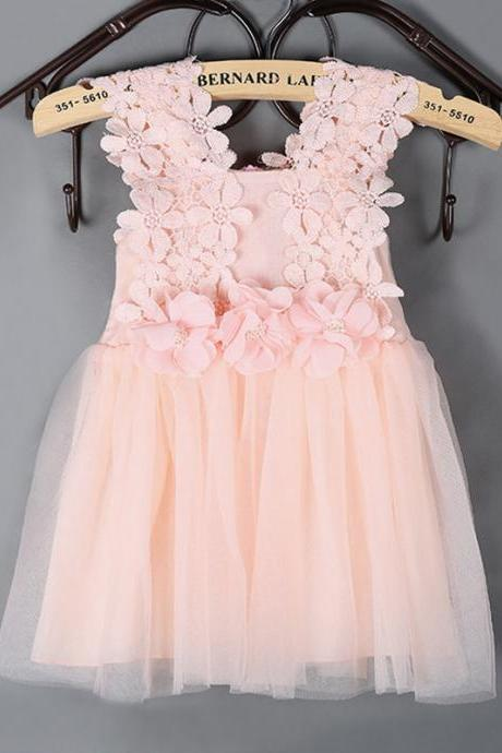 2016 New Pink Dress Girls Flower Girl Dress Children Tulle Flower Girl