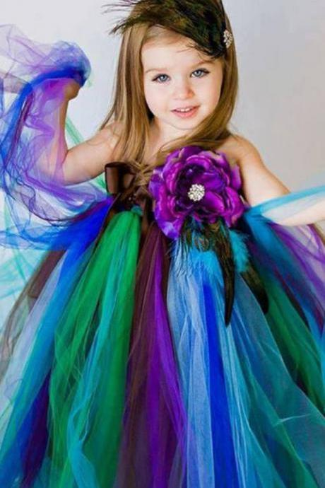 Purple TuTu Dress / Lavender Tutu Dress With Flowers little girls pageant dresses Kid Toddler Communion Dress For Wedding Party