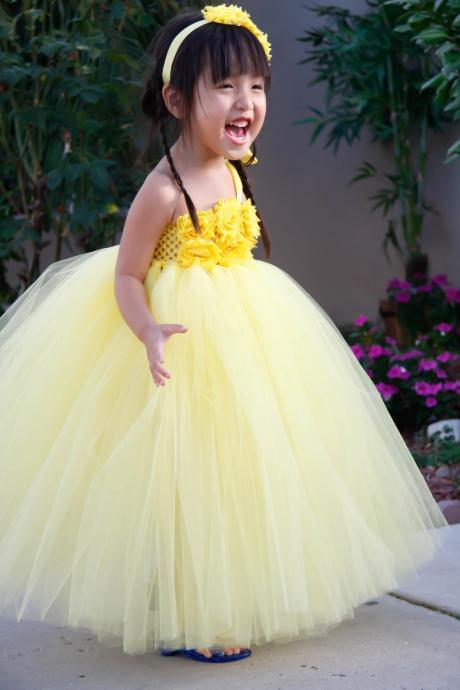 2016 Flower girl dress. Yellow with Yellow Shabby Flowers TuTu Dress. birthday