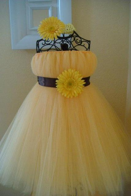 2016Hot Yellow Hand-tailored Dress TuTu Cute Girl Dress Flower Girl Dress Halloween Birthday