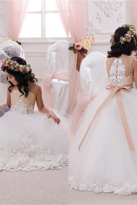 2016 Hot Lace Applique Flower Girl Dress, A-line dress floor length Crystal Bowknot
