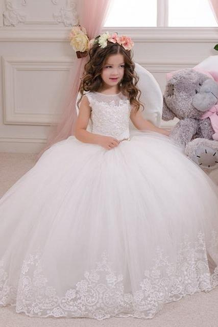 2016 Cheap wedding dress white flower girl dress lace cap birthday party bow belt zipper chiffon sleeve dress parade