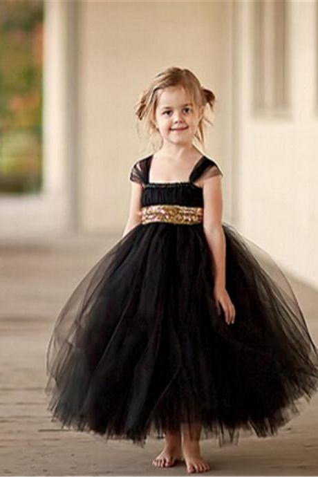 2016 Gold Sequin black dress fashion flower girl dress baby tutu bow Ball Gown Dress dresses