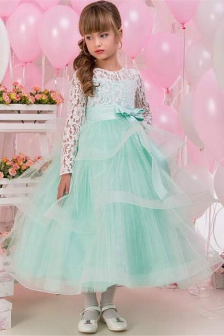 mint a line flower girls long sleeve lace appliques soft bow wedding wear girl first communion dress dresses dresses