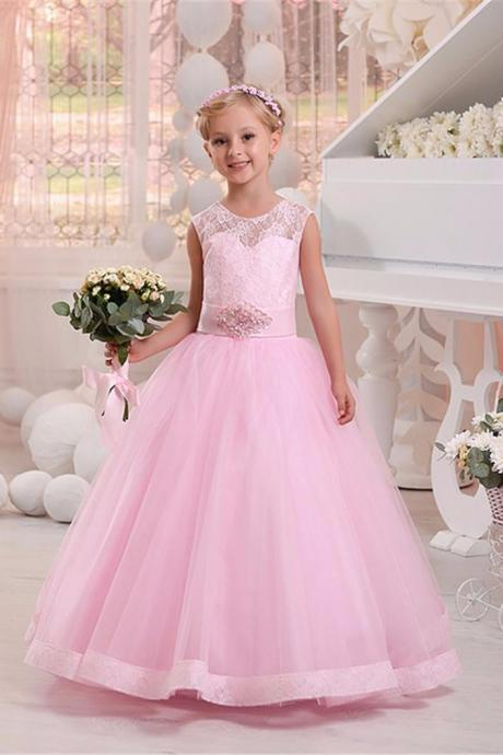Hot Pink Lace Girl Dresses A Line O Neck First Communion Dress With Floor-Length Beads Bridal Beautiful Girl Dresses