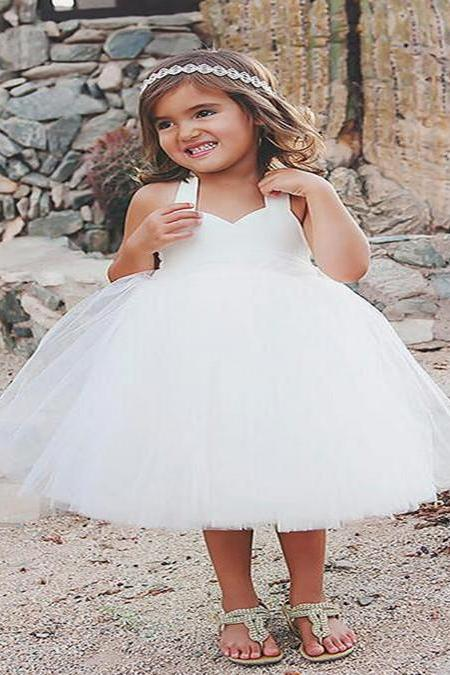 High Quality White Flower Girl Dresses Backless Halter Dress Tulle 2016