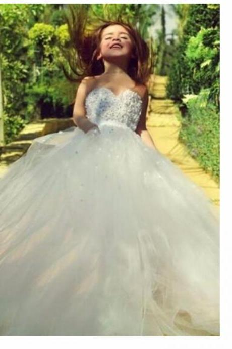 2016 Beautiful White Sweetheart Lace Flower Girl Dress A Line Tulle Long sundresses for girls Dress