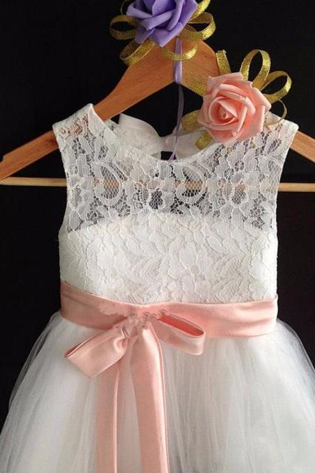 2016 Beautiful White Sweetheart Lace Flower Girl Dress A Line Tulle Long sundresses for girls Dress Lace Flower Girl Dress with Champagne / Navy Wedding Sash children Junior Easter communion christening dress girl dresses
