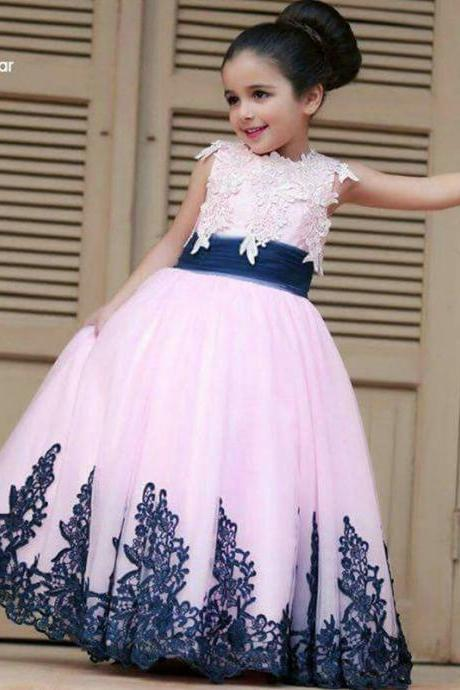 Pink tulle lace navy blue flower girl dresses ball gowns Appliqued 2016 pageant dresses first communion dress for girls