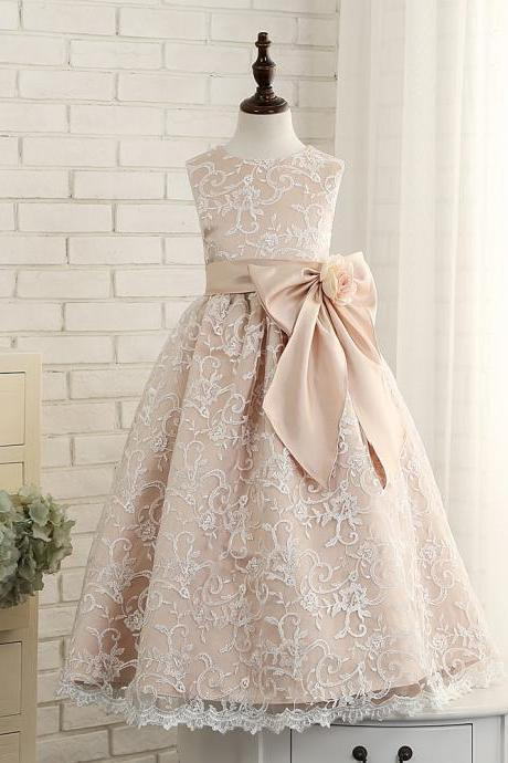 New Vintage lace flower girls dresses dancing party dress birthday bow custom communion Girls pink dress with bow
