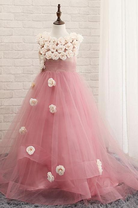 The new charm with flowers tulle ruffles Girls' Dresses parade birthday party princess girls pink dress