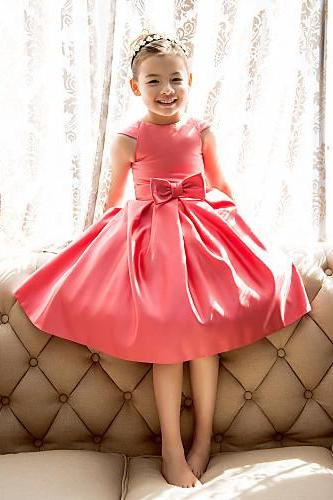 A-line / Princess Tea-length Flower Girl Dress - Satin Short Sleeve Jewel with