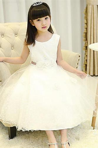 2016 A-line Tea-length Flower Girl Dress Cotton Satin Tulle Sleeveless Flower dress