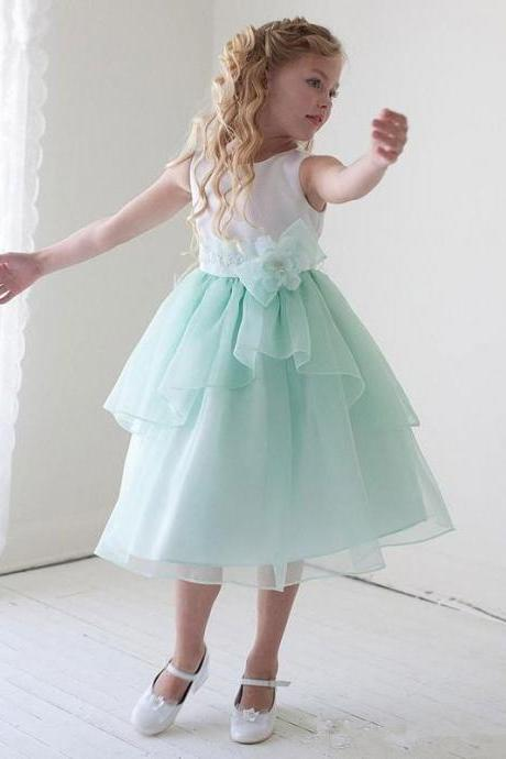 Beautiful Flower Girls Dresses with Ruffle Puffy Mint First Communion Dresses Girls Bow Kids dress for weddings