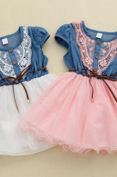 2016 new summer short-sleeved cotton dress female children of spring and summer lace princess dress children Girls lace dress children denim jumpsuit denim belt net veil F-0004