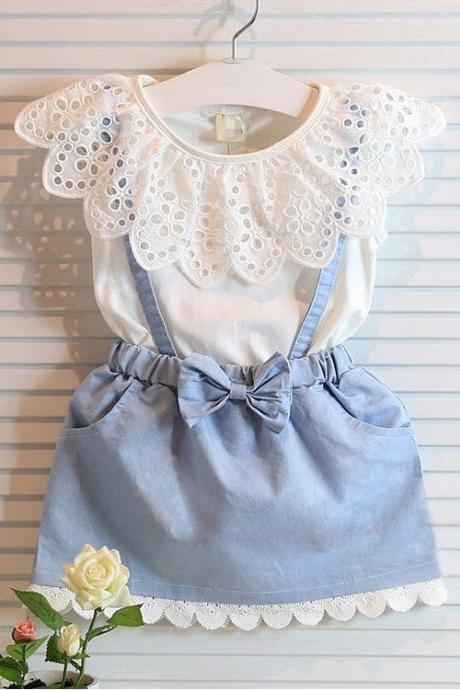 2016 Kids Tong Skirt Explosion Models Fake Two Girls Dress Princess Denim Skirt F-0010