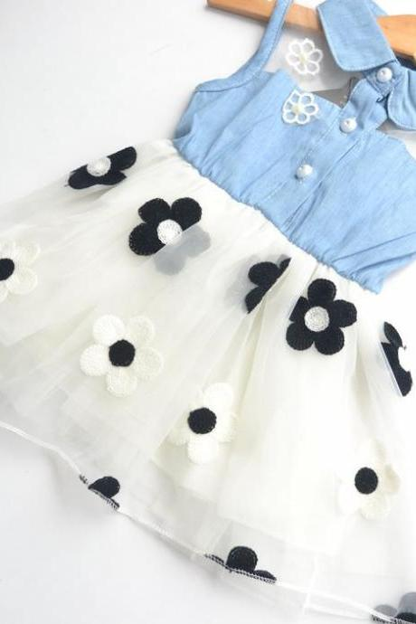 2016 Hot Denim Waist Dress Children Dress Flower Girl Dress Princess Gauze F-0012