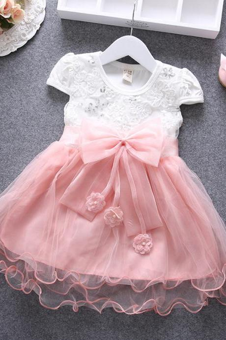 2016 New Female Baby Girls Dress Summer Gauze Skirts Tulle Princess Children Lace Sleeveless Dress F-0016