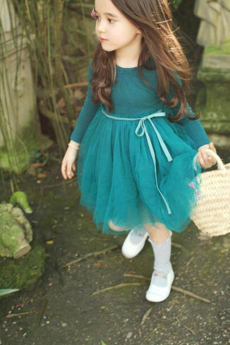 Girls Long-Sleeved Dress 2016 Spring And Autumn Embroidery Tutu Dress CChild F-0032
