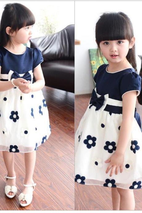 2016 Explosion Models Girls Dance Skirt Lace Gauze Dress Big Bow F-0036