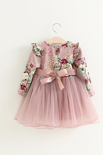 Autumn Children's Clothing Female Children Dress Children Pink Flowers Fly Puff Sleeve Princess Dress Veil F-0037