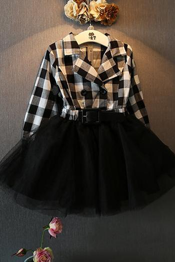 Autumn 2016 Children's Clothing Girls Dress new Double-breasted Belt Decoration Casual Plaid Skirt Veil Stitching F-0042